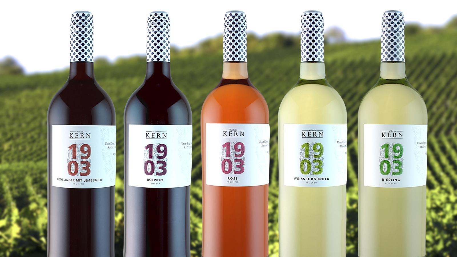Die fünf Weine der 1903-Linie (Abbildung von Flaschen vor Weinbergmotiv)