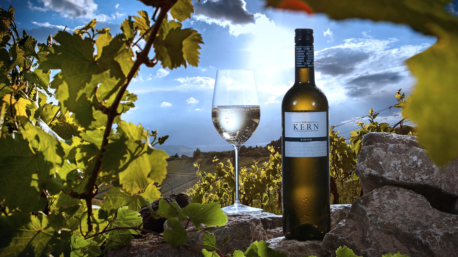 Flasche der BLAU-Linie mit Weinglas im Weinberg