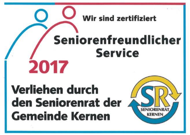 Seniorenfreundlicher Service Zertifikat