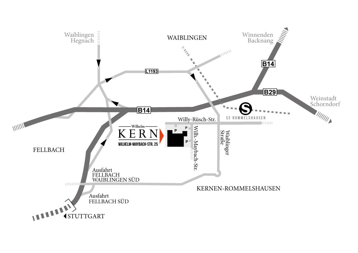 Anfahrtsbeschreibung Wilhelm Kern GmbH, 71394 Kernen i.R.